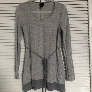 Gray Light Maternity Top with waist tie